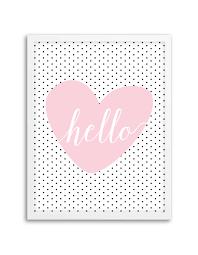 cheap printable wall art free printable hello polka dot heart wall art