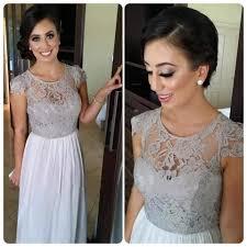 silver wedding dresses for brides saudi arabia silver grey lace bridesmaid dresses 2016 cheap cap