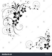 Invitation Card Background Design Flower Corner Vector Black Flowers On Stock Vector 363997916