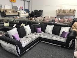 Purple Corner Sofas Corner Sofa Velvet Sofa Crushed Velvet Towie Glitz Brand New Quick