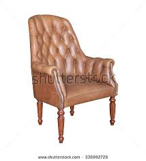 Vintage Brown Leather Armchair Brown Classical Leather Sofa Carved Wood Stock Photo 104750195