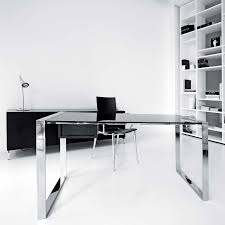 Glass Home Office Desk Fascinating Glass Top Office Desk With Drawers Feminine Minimalist