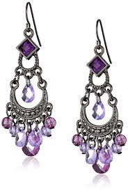 purple earrings 1928 jewelry black crescent chandelier earrings drop