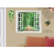 diy wall stickers 3d beautiful window view forest
