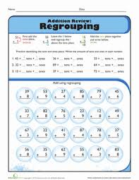 review addition with regrouping worksheet education com