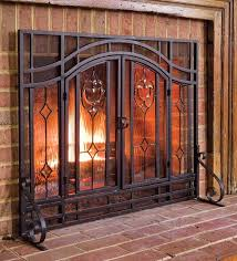 plow hearth two door fireplace screen with glass floral panels