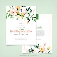 wedding invitations freepik wedding invitation with watercolor flowers vector free