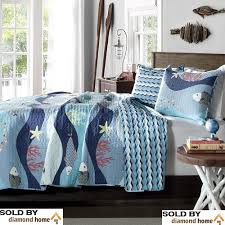 Teal Coverlet White Red Baby Teal Blue Sea Fish Starfish Coral Bedding Quilt