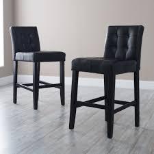 Black Laminate Floor Black Tufted Leather Square Seat Bar Stools On Grey Laminate Floor