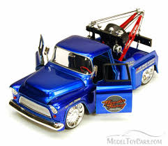1955 chevy stepside tow truck blue jada toys 96402 1 24 scale