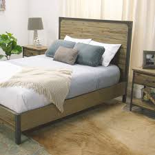 wood and metal aiden bed metal accents rustic wood and nightstands