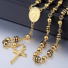 all gold rosary necklace images 6 8mm gold black silvertone stainless steel bead chain jesus jpg