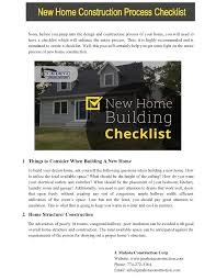 new home construction steps new home construction process checklist authorstream
