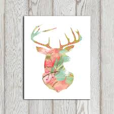 stag print floral stag head printable flower stag pink green
