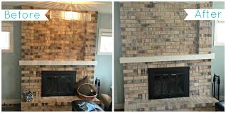 whitewash stone fireplace before and after