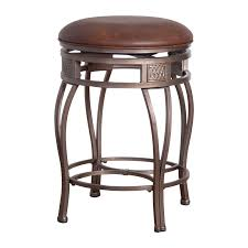 furniture round leather cushions backless bar stools with brass