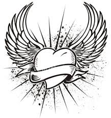 Hearts With Wings - pencil drawings of hearts with wings and banners