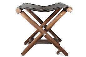 portable wooden folding stool chair leather seat camping fishing