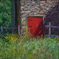 Red Barn Door by Bucks County Red Barn Door Pastel By Bob Richey
