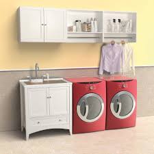 Laundry Room Storage Cabinets With Doors by Brown Wooden Cabinet On The Cream Wall Combined With Two White