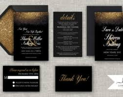 new years wedding invitations new years wedding invitation black and gold glitter