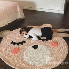cute cartoon bear design knitted crochet kids rug beddinginn com