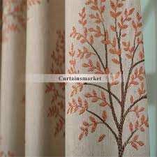 wide panel curtains choose orange red tree patterns