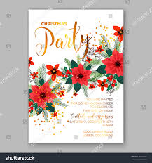 christmas party invitation template poinsettia flowers stock