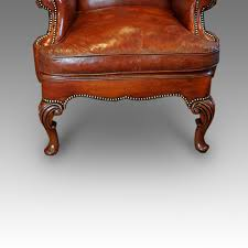 Queen Anne Wingback Chair Leather Pair Of Queen Anne Style Walnut Wing Chairs Hingstons Antiques