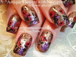newspaper nail art design with flowers antique floral nail