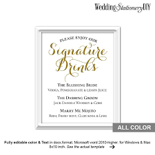 wedding signs template gold wedding signature drink sign printable 2534323 weddbook