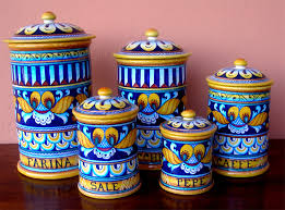 italian canisters kitchen deruta pottery 5 pcs canisters set geo pattern ebay