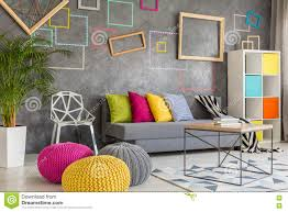 living room with wool poufs stock image image of creative