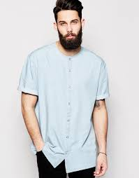 asos collarless oversized shirt in short sleeve with drape in blue