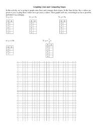 graphing lines and comparing slopes 9th 10th grade worksheet