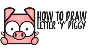draw cute kawaii cartoon pig letter u0027y u0027 shapes