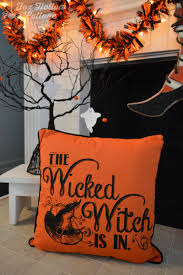 halloween pillows classic black and orange halloween mantel