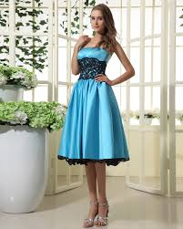 a line strapless lace satin blue bridesmaid dresses for wedding on