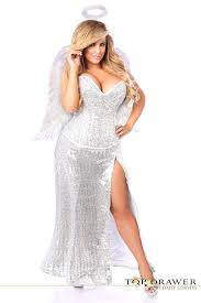 Corset Halloween Costumes Size Size Sequins Corset White Angel Costume Long Skirt Wings