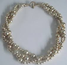 silver beads necklace tiffany images Tiffany co sterling silver bead ball 3 strand torsade toggle jpg