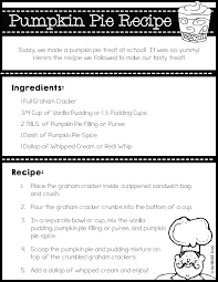 thanksgiving writing activity no bake pumpkin pie recipe baked pumpkin and kindergarten