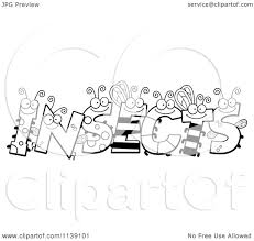 cartoon clipart of black and white bug letters spelling insects