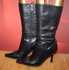s heeled boots uk black leather mid calf pointy faith metal detail heel