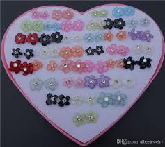 plastic stud earrings 2017 mix colors fashion rhinestone resin plastic flower stud