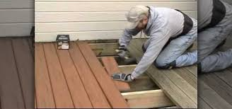 how to replace worn out wood with composite decking construction
