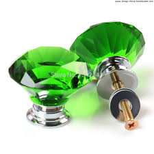 Glass Wardrobe Door Knobs by 8 Pcs 40mm Green Diamond Shape Crystal Glass Cabinet Knob Drawer