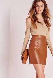 missguided tall faux leather mini skirt tan in brown lyst