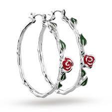 disney couture beauty u0026 the beast belle u0027s rose hoop earrings