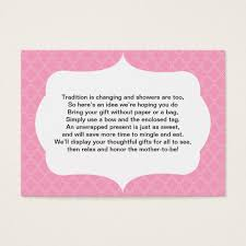 Gift Card Bridal Shower No Wrap Insert Card Baby Or Bridal Shower Pink Zazzle Com