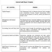 remarkable internal audit report template example with key control